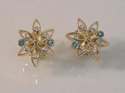 Earrings with Blue & White Diamonds