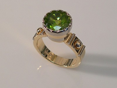 Peridot Ring in Yellow & White Gold