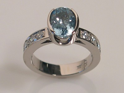 Aquamarine Ring with Cup Setting
