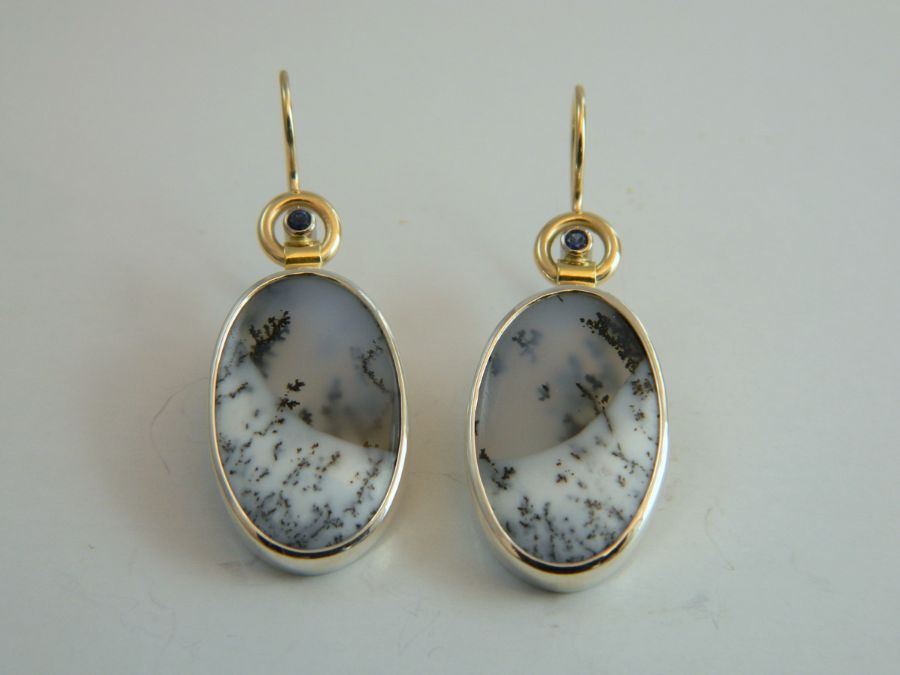 Dendrite Chalcedony Earrings - little blue Sapphires in silver & gold