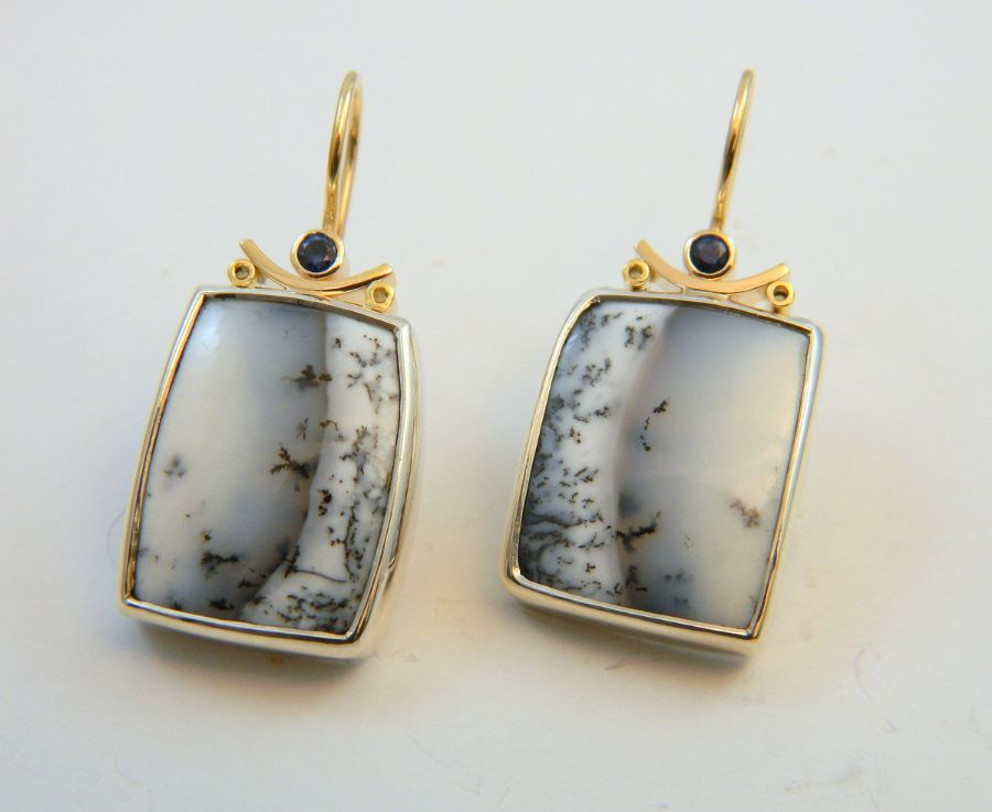 Dendrite Chalcedony Earrings - small Sapphires in Gold & Silver