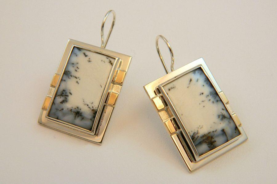 Dendrite Chalcedony Earrings in Silver