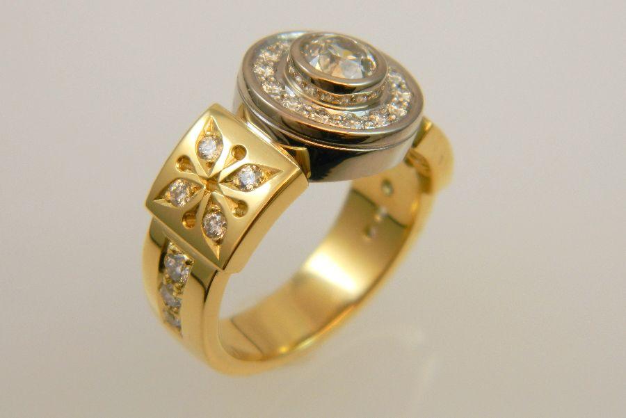 Diamond Ring, 18K Yellow & White Gold