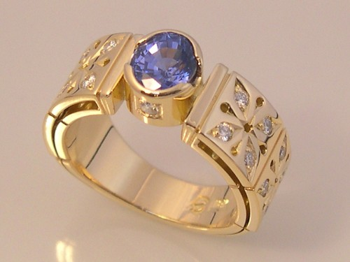 Diamond Ring with 1.54 ct Sri Lankan Sapphire
