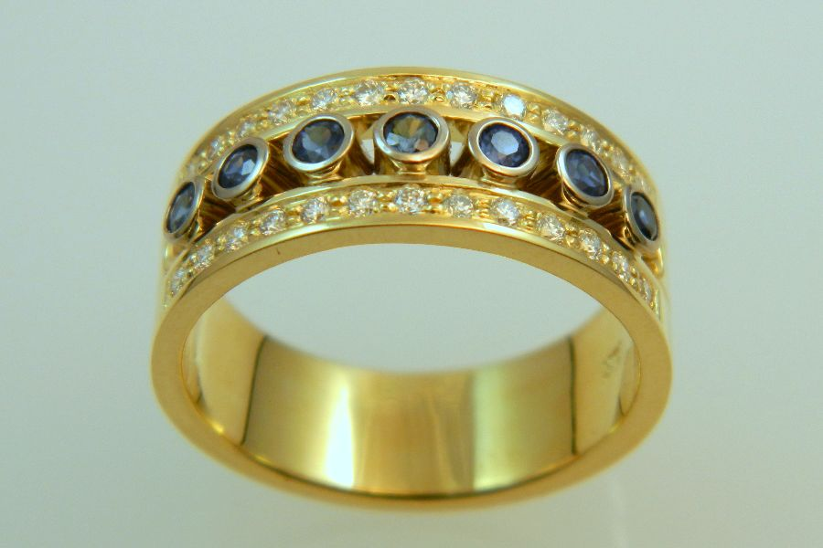 Gold Band with Sapphires & Diamonds