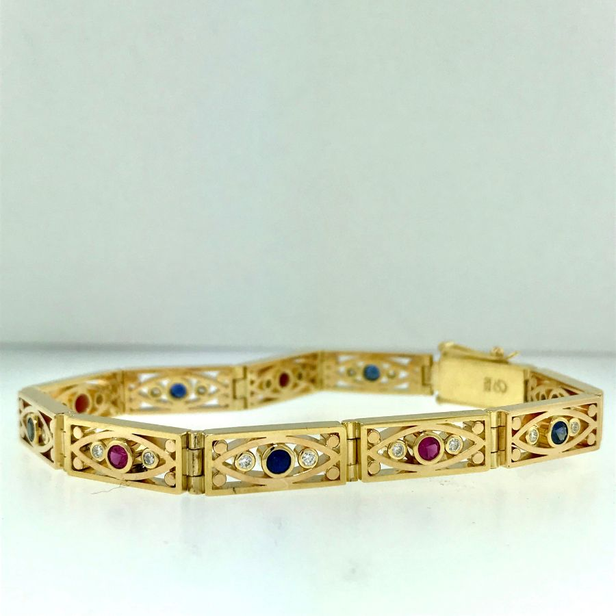 Gold Bracelet with Rubies, Sapphires & Diamonds