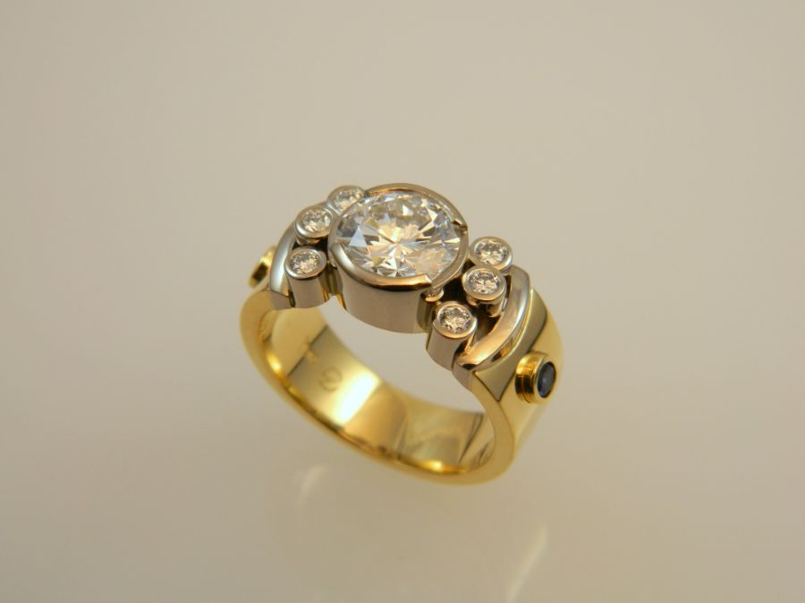 Gold Diamond Ring with Sapphires