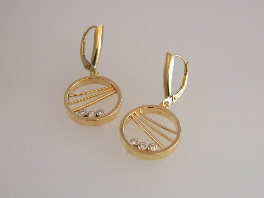 Gold Earring Hoops with Diamonds