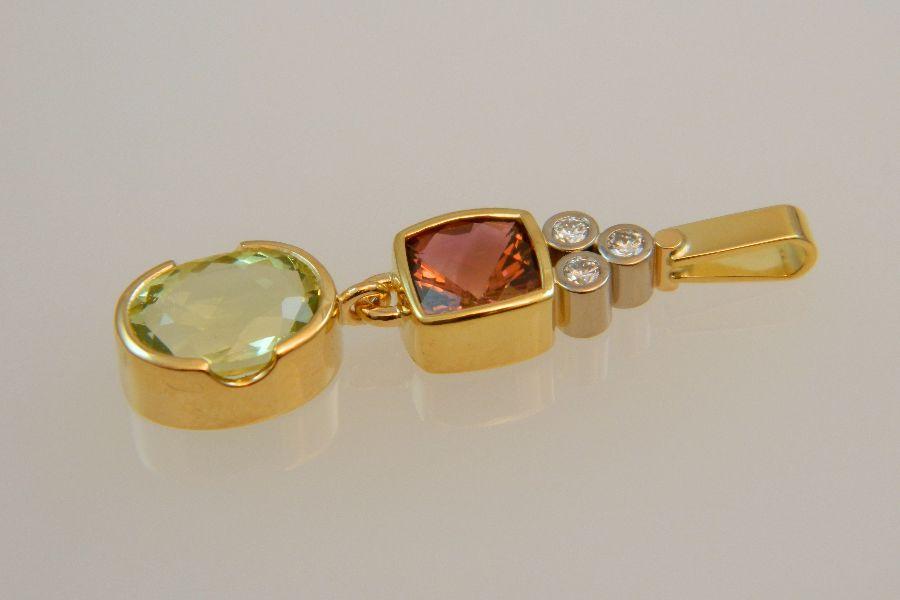 Gold Pendant with Aquamarine & Pink Tourmaline