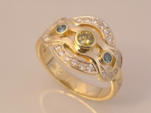 Gold Ring with Yellow, Blue & White Diamonds