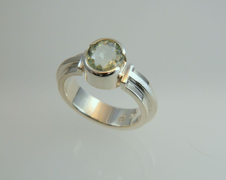 Green Aquamarine Ring in Silver