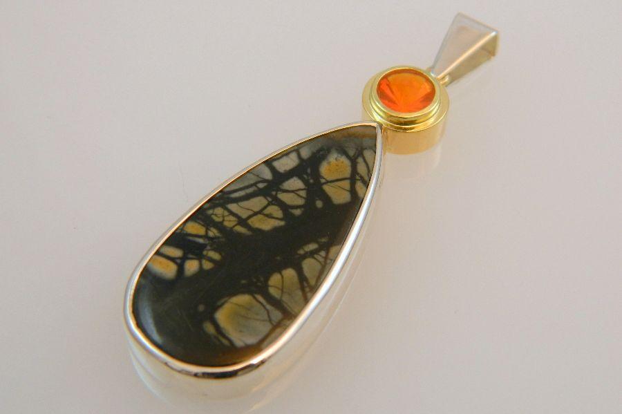 Jasper & Fire Opal Pendant in Silver