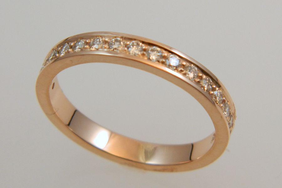 Narrow Diamond Gold Band