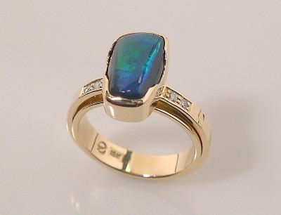 Double Shank Opal Ring