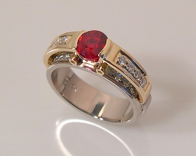 Orange~Red Sapphire Ring