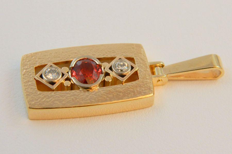 Orange & Red Sapphire Pendant