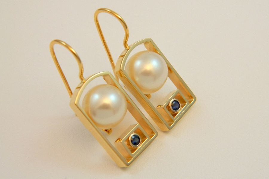 Pearl Earrings with Small Sapphires