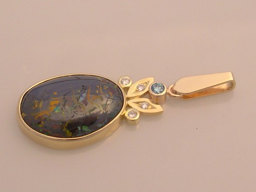 Pendant with Boulder Opal Matrix & Diamonds