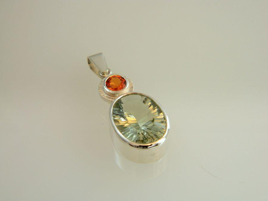 Prasiolite Pendant with orange Sapphire