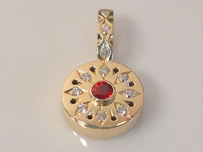 Red Sapphire Snowflake Pendant