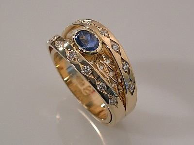 Sapphire & Diamond Double Shank Wide Ring