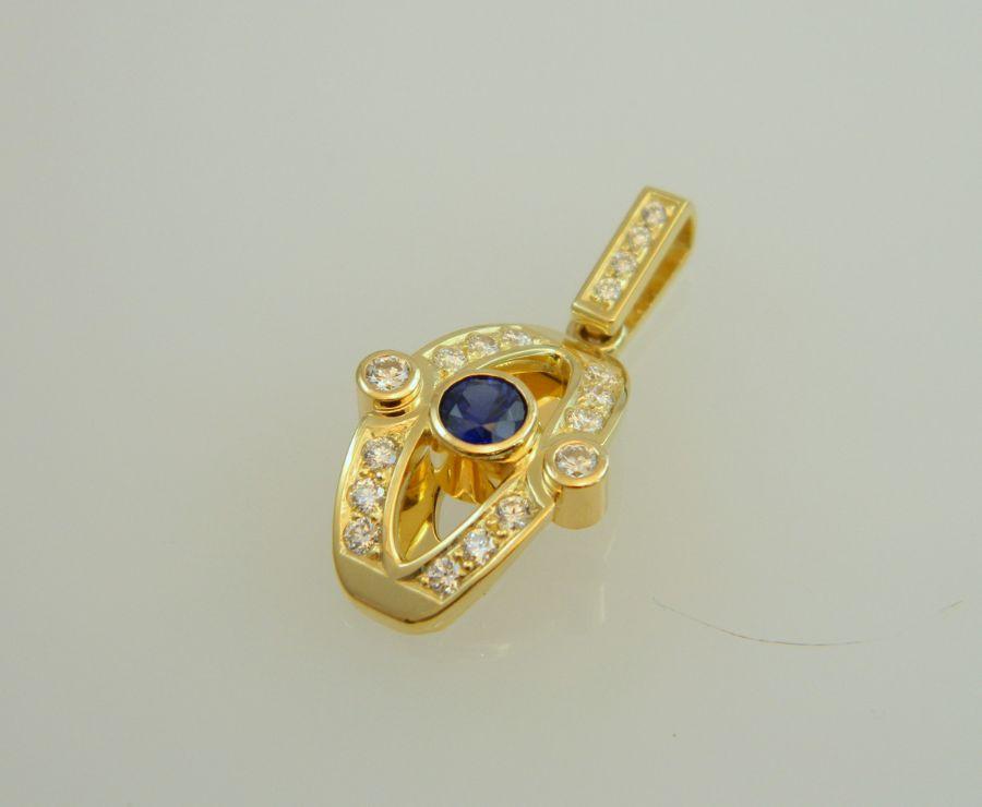 Sapphire - Diamond Pendant in 18k Royal gold