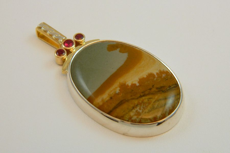 Silver-Gold Pendant with Small Rubies & Landscape Jasper