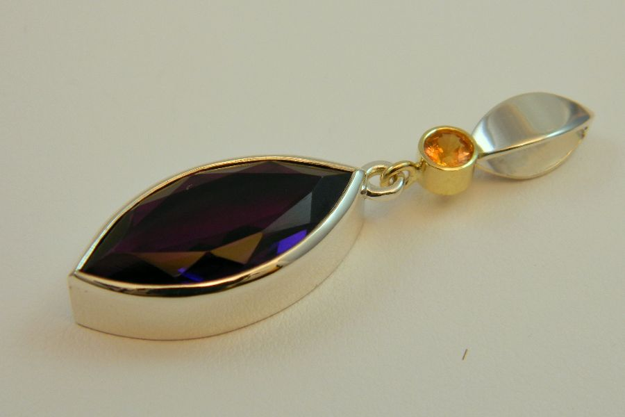 Silver Pendant with Amethyst & Yellow Sapphire