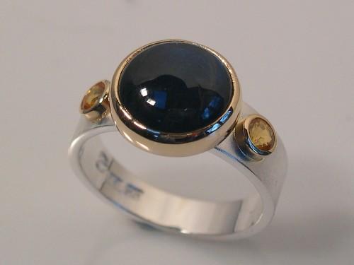 Silver Ring - Yellow Sapphires & Spectrolite