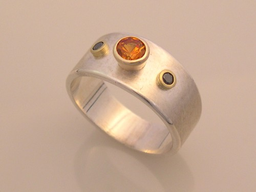 Silver Ring with Orange Sapphire & Black Diamonds