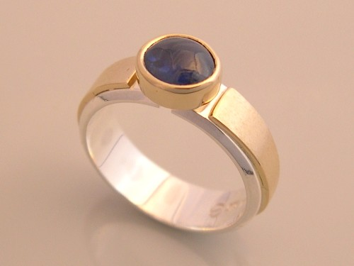 Silver & Gold Ring w Blue Sapphire Cab