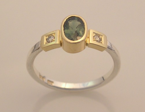 Silver & Gold Ring with Green Sapphire & Diamonds