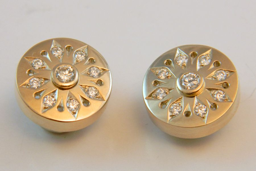 Snowflake Diamond Earrings in Gold