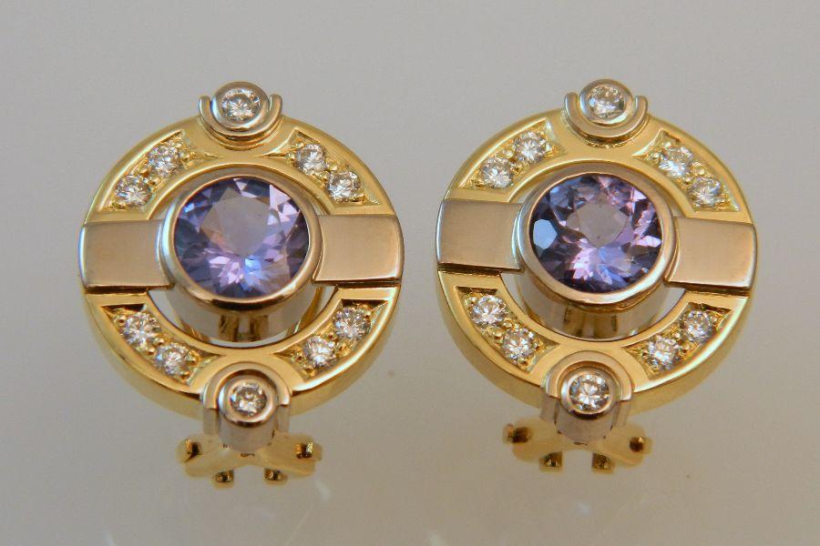 Tanzanite & Diamond Earrings in 18K Gold