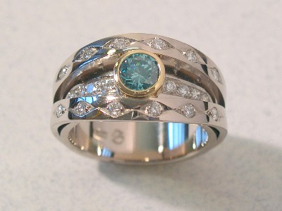 Teal Diamond White Gold Ring