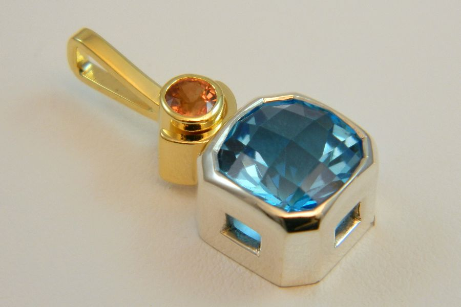 Topaz-Sapphire Pendant in Silver & 14K Gold