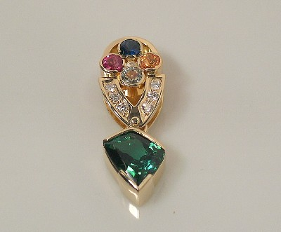 Tourmaline Pendant w/ Multicolor Sapphires & Diamonds