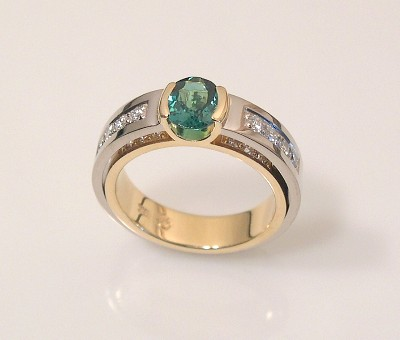 TOURMALINE RING with narrow double shank