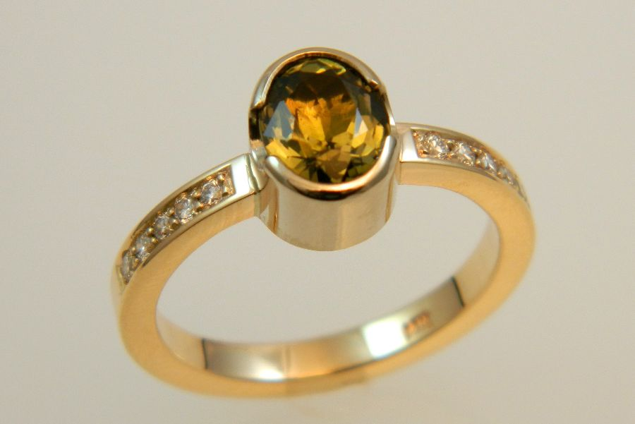 Tourmaline & Diamond Ring in 14K Gold