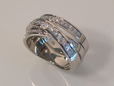 Triple Diamond Banded Ring in White Gold