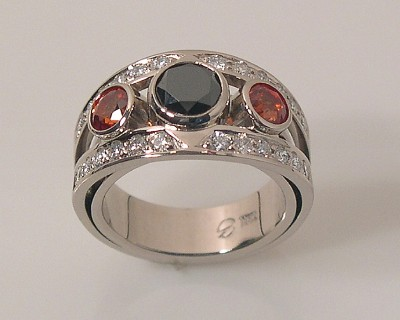 White Gold Ring w/ Orange Sapphires & a Black Diamond