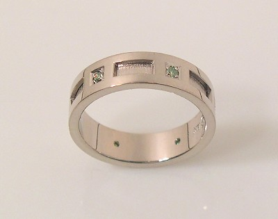 White Gold Band with Green Diamonds