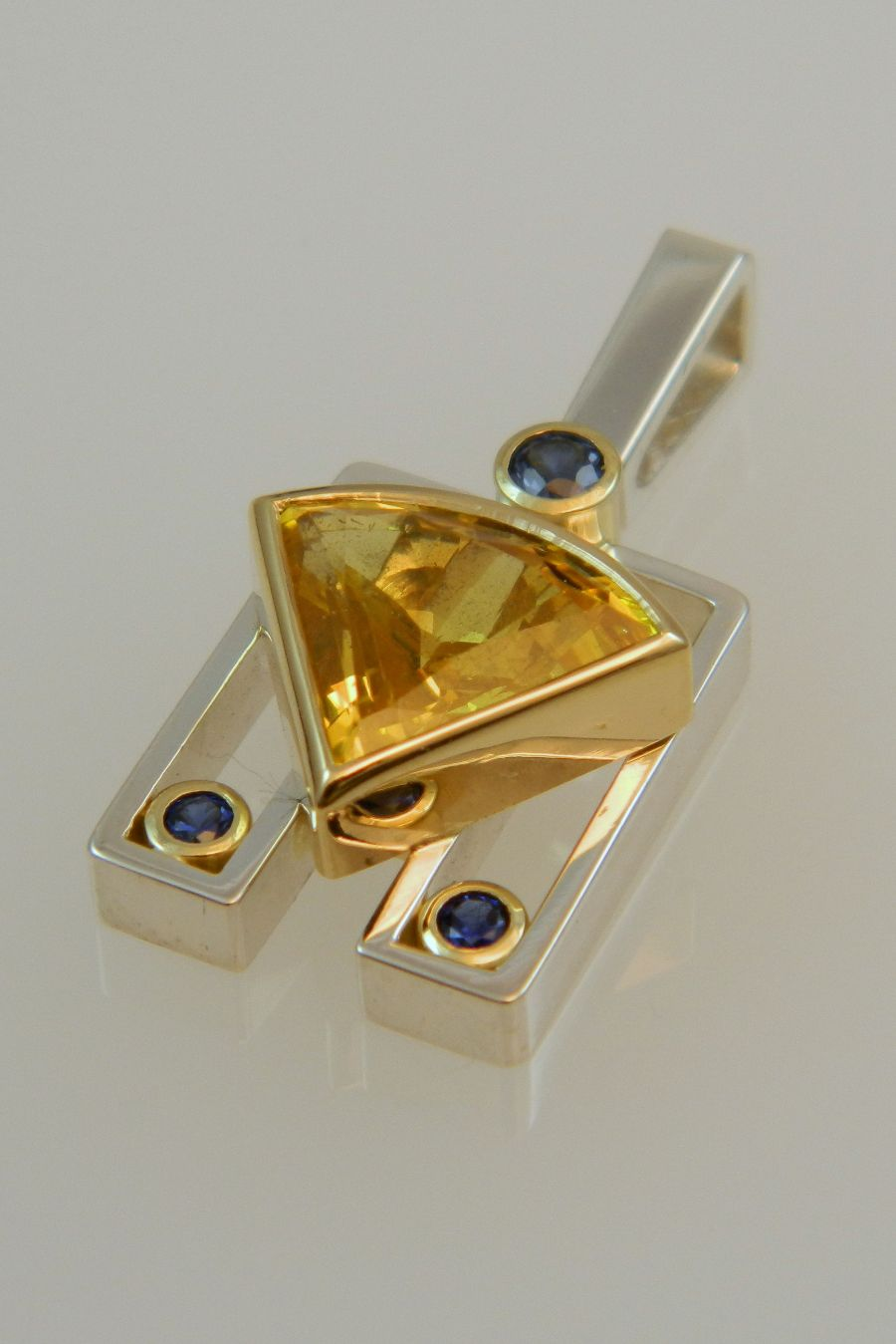 Yellow & Blue Sapphire Pendant in Silver & Gold