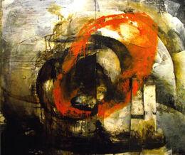 'Untitled' (Big Orange) Bitumen, Oil, Acrylic on Board 180x150cm
