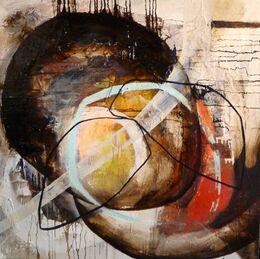 'Dunnan II' Bitumen, Oil, Acrylic on Board 100x100cm