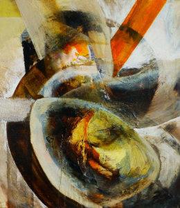 'Darrell I' Bitumen, Oil, Acrylic on Board 50x50cm