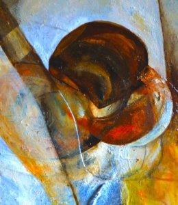 'Play I'  Bitumen, Oil, Acrylic on Board 45x30cm
