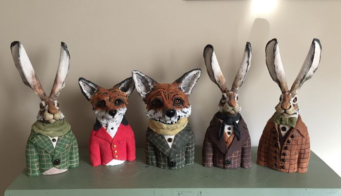 Fox and hare busts