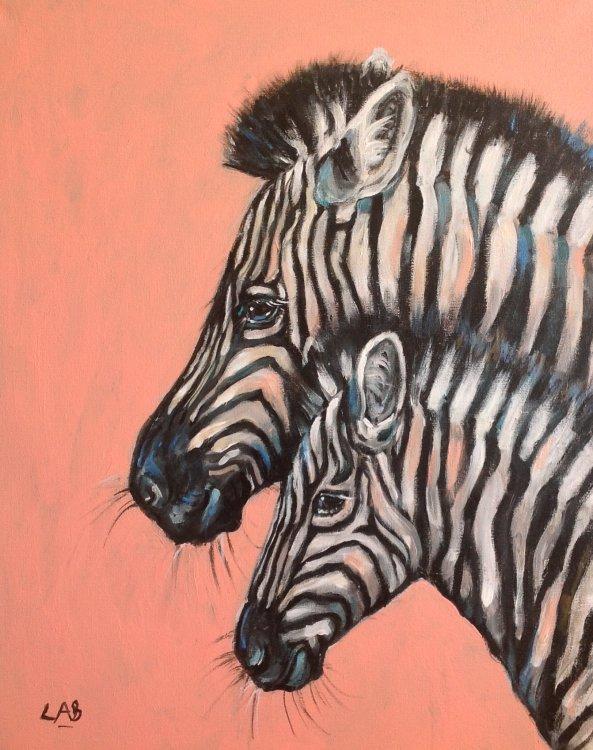 Peach zebras