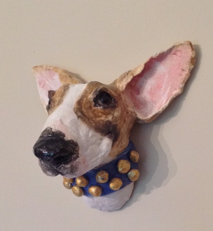 Ceramic Bull Terrier wall hanging